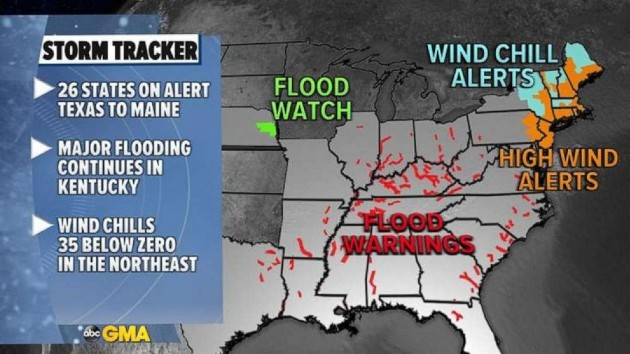 Major flooding continues in South as Northeast hit with cold blast
