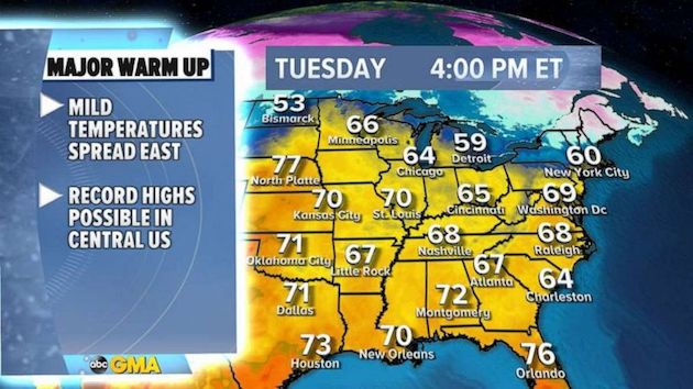 Warmest air since November expected across parts of US next week