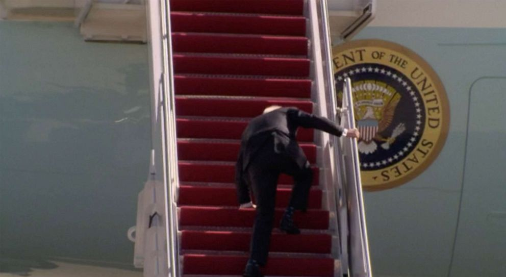 Biden 'just fine' after tripping 3 times jogging up steps to Air Force One