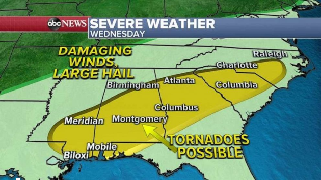 More tornadoes possible in South as Northeast braces for cold