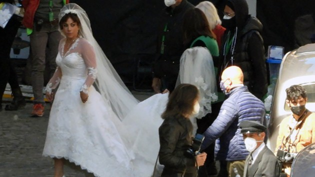 See Lady Gaga in full bridal attire on set of 'House of Gucci'
