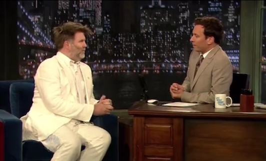 James Murphy wearing a white suit on Jimmy Fallon