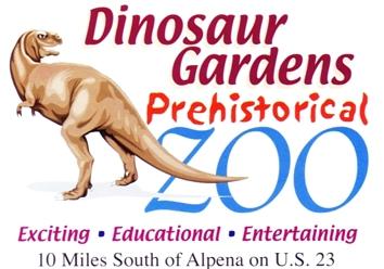 "Photo of brochure for ""Dinosaur Gardens Prehistorical Zoo"""
