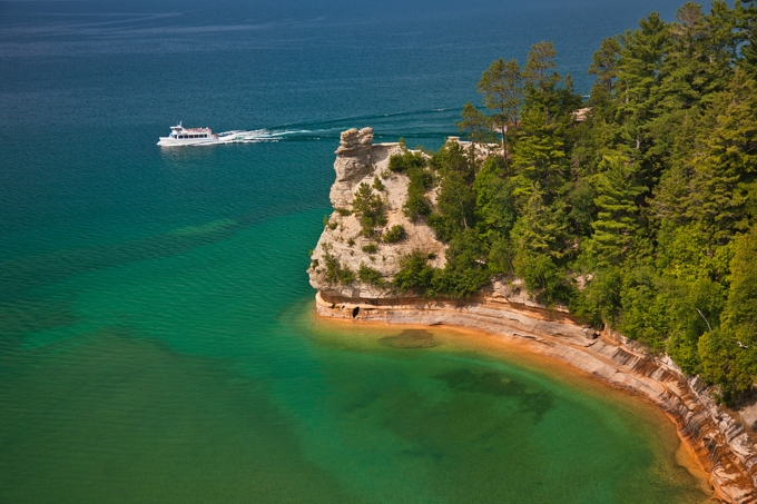 "Image of ""Miners Castle,"" a major landmark of the Pictured Rocks National Lakeshore. Photo provided courtesy of http://www.picturedrocks.com/."