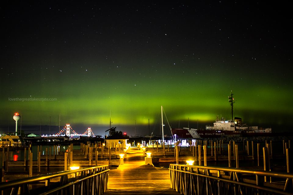 Photo of the Northern Lights in Mackinaw City, MI. Copyright 2016, Brian Tannis, lovethegreatlakesstate.com.