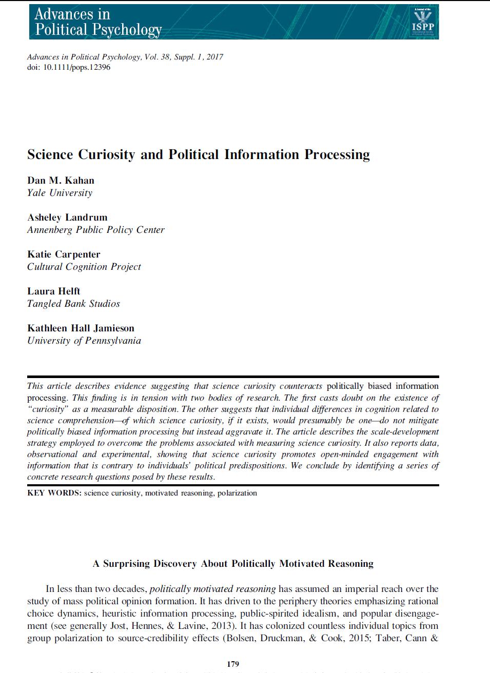 political psychology topics