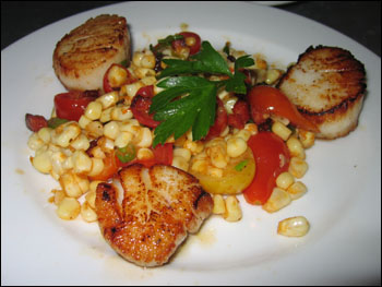pan-seared scallops, sweet corn, cherry tomatoes, chorizo