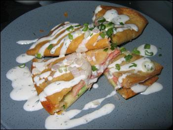 ... pancake stuffed with local king salmon and zucchini, dill creme