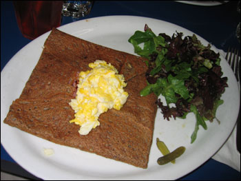 galette with ham, cheese, and egg - $8