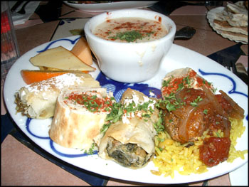 lemon chicken rice soup, phyllo pastries (chicken, and spinach/cheese), levant sandwich, lamb with rice