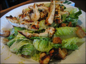 chicken caesar salad with herb-grilled chicken
