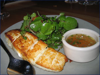 pan-seared alaskan halibut with spicy ginger fish sauce - $19.50