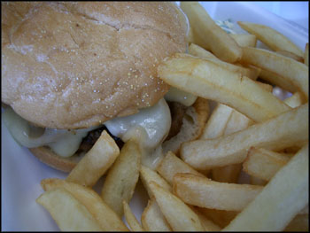 mushroom burger with swiss