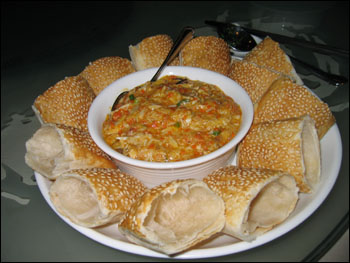 crab stuffing with sesame pastry buns