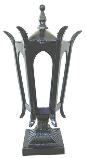 Description: Small Gothic Post Top With Type E Aluminium Pillar Mount