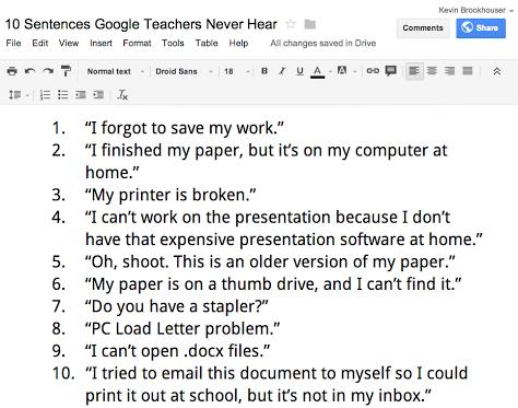 10 sentences google students never hear home doug johnson s blue