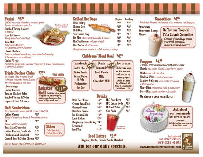 Ice Cream Menu Design Click on the menu to enlarge
