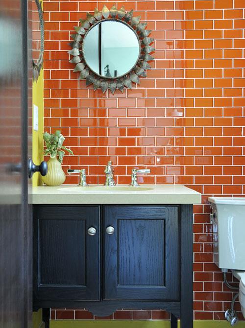 Colored subway tile backsplash