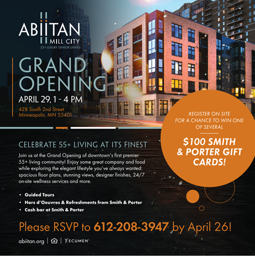 RSVP For April 29 Abiitan Mill City Grand Opening Event