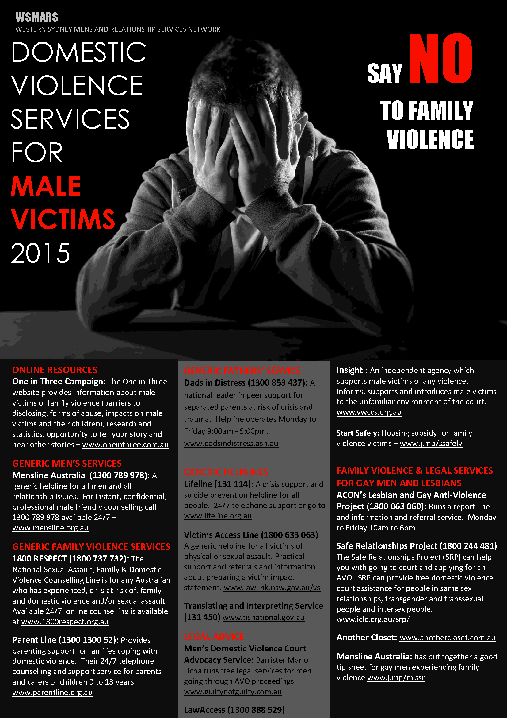 New poster outlines domestic violence services in Western Sydney for male victims