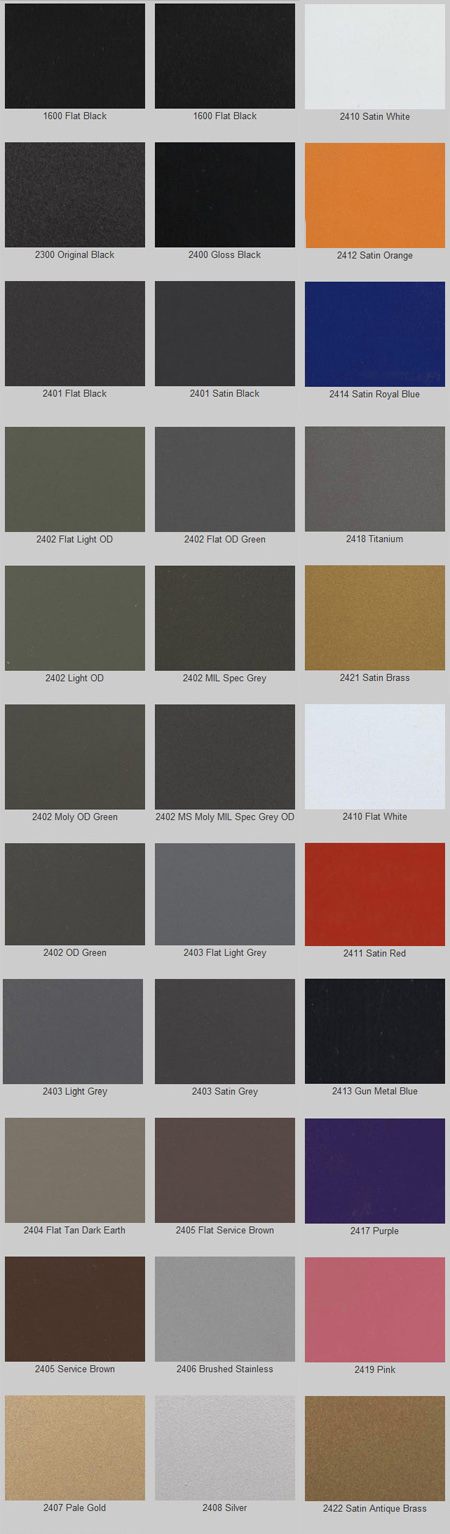Large Cerakote Color Chart The Premier Cl Ii Iii Gunsmith For Leo And Civilians Transfers Machining Coating