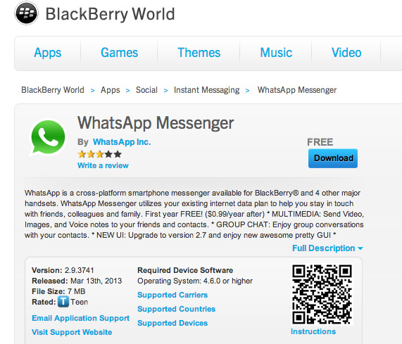 WhatsApp Messenger now available for BlackBerry Z10