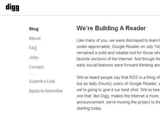 Digg Reader to launch in June