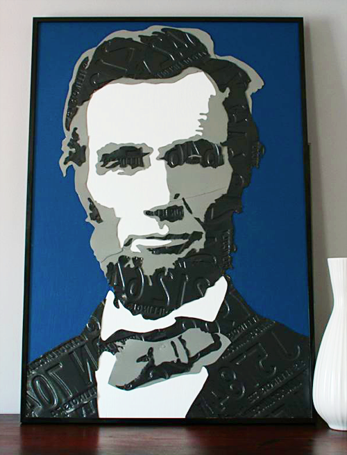 The strength behind the strong proudly supporting our friends and photograph of metal artwork depicting abraham lincoln rendered in blue black white and fandeluxe Gallery