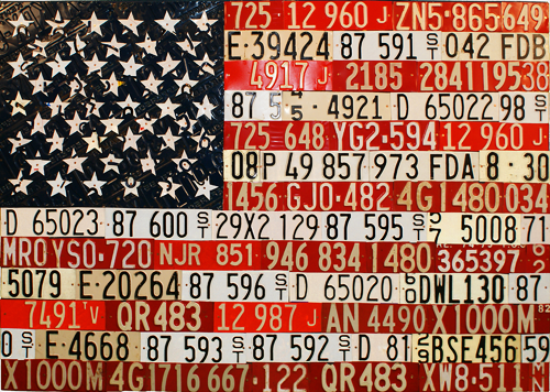 Photograph of the American Flag rendered in metal license places. From thestrengthbehindthestrong.com.