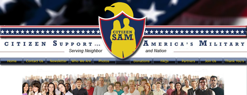 Screenshot of the front page of the Citizen S.A.M website. (Citizen Support for America's Military). From thestrengthbehindthestrong.com.