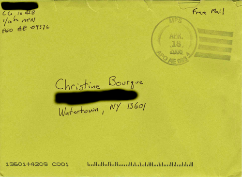 Image of an envelope sent from Iraq to New York with 'free mail' written in the upper right hand corner. From TheStrengthBehindtheStrong.com.