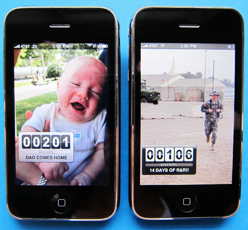 Image of two countdown clocks as they appear on an iPhone. From TheStrengthBehindtheStrong.com.