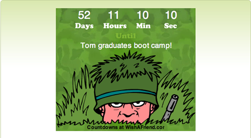 Image of website countdown clock showing a cartoon soldier wearing a grass-covered helmet as camoflage. From TheStrengthBehindtheStrong.com.