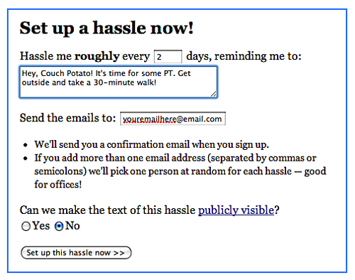 Screenshot of HassleMe.com's form for setting up an automatic 'hassle'. From TheStrengthBehindTheStrong.com.