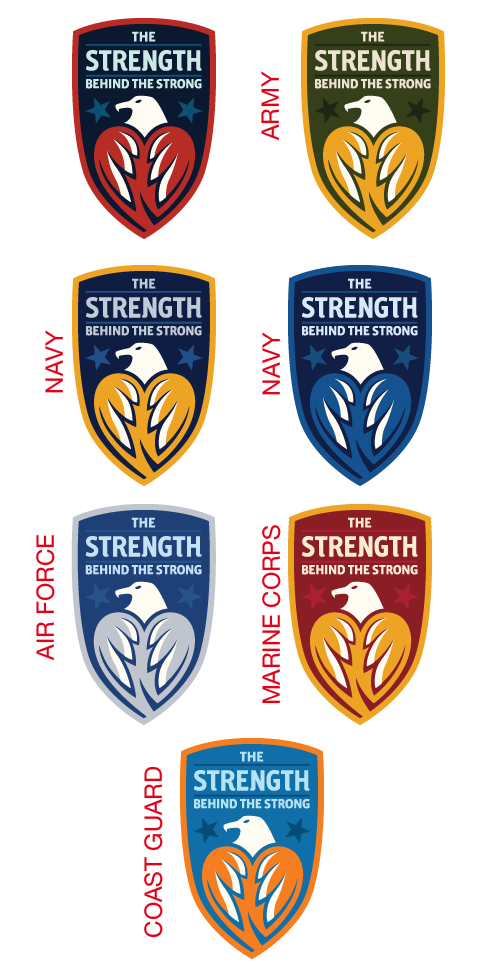 Image of TheStrengthBehindTheStrong.com's logo in red, white and blue, followed by the logo rendered in the colors of the various branches of the U.S. Military. Army (green and gold), Navy (navy blue and gold, and navy blue and sky blue), Air Force (sky blue and pale blue), Marine Corps (red and gold), and Coast Guard (warm blue and orange). From TheStrengthBehindTheStrong.com.