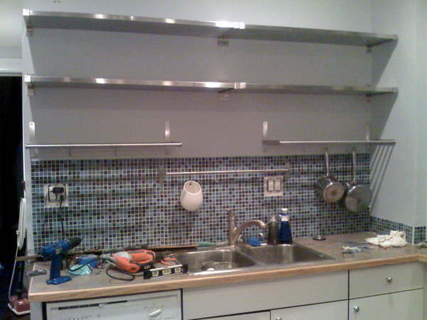 DIY Kitchen Remodel Renovation Hanging Stainless Steel Open Shelving JPGSQUARESPACECACHEVERSION 1305725521952 – Kitchen Shelves Ikea