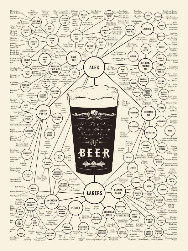 The Very Many Varieties of Beer infographic poster