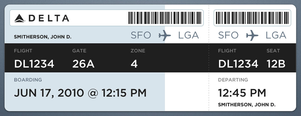 Louie Mantia's boarding pass redesign
