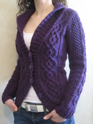 Free Crochet Pattern For Cabled Sweater : Delicious Knits - Blackberry Cabled Cardigan