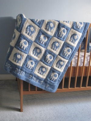 Elephant Blanket Knitting Pattern Free : Delicious Knits - Elephant Blocks Baby Blanket