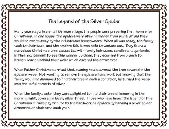 image relating to Legend of the Christmas Spider Printable named towards these kinds of fingers - Magazine