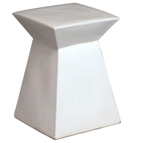 Beau White Modern Square Ceramic Garden Stool At Home Infatuation Blog