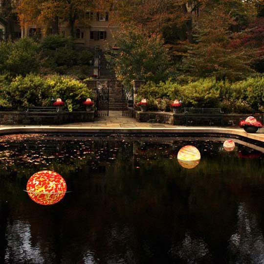 Home Infatuation Blown Glass Orb Garden Lights Swimming Pool