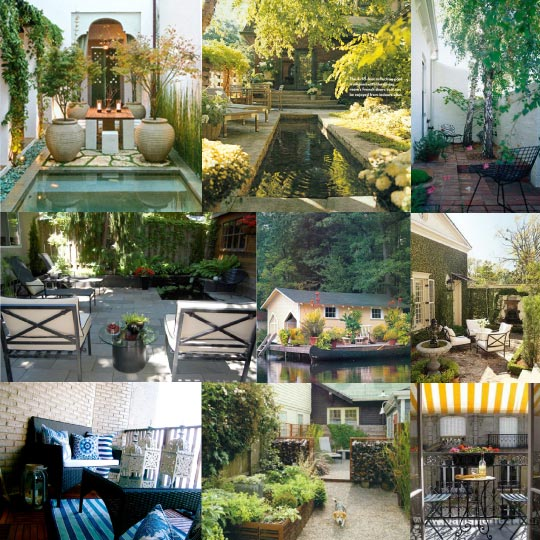 Inspiration board small outdoor spaces home for Tiny garden spaces