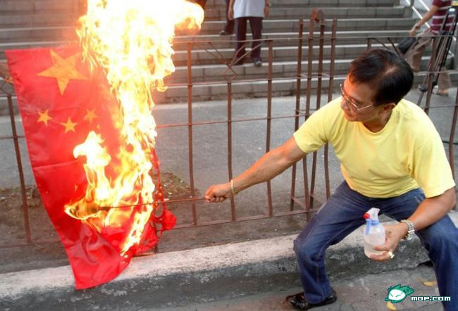 Image result for pics of chinese flag burning