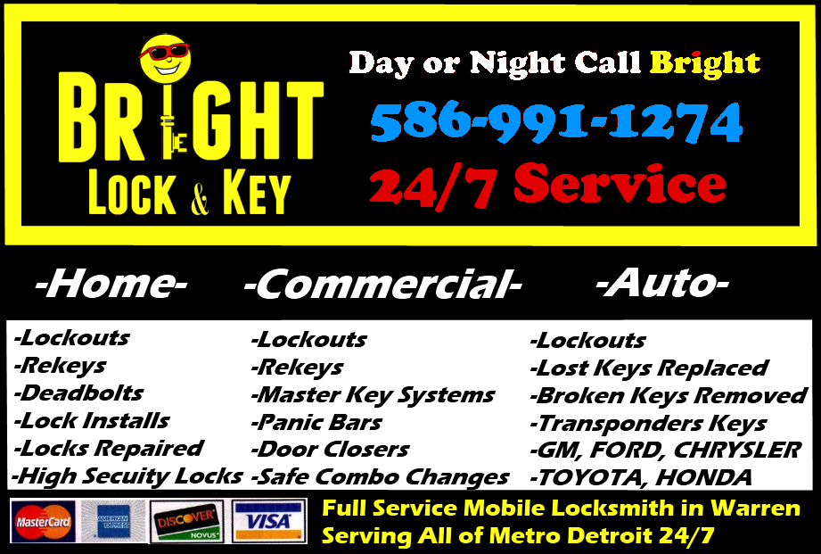 Bright Lock and Key, Locksmith Warren, MI 48089 *586-991-1274*