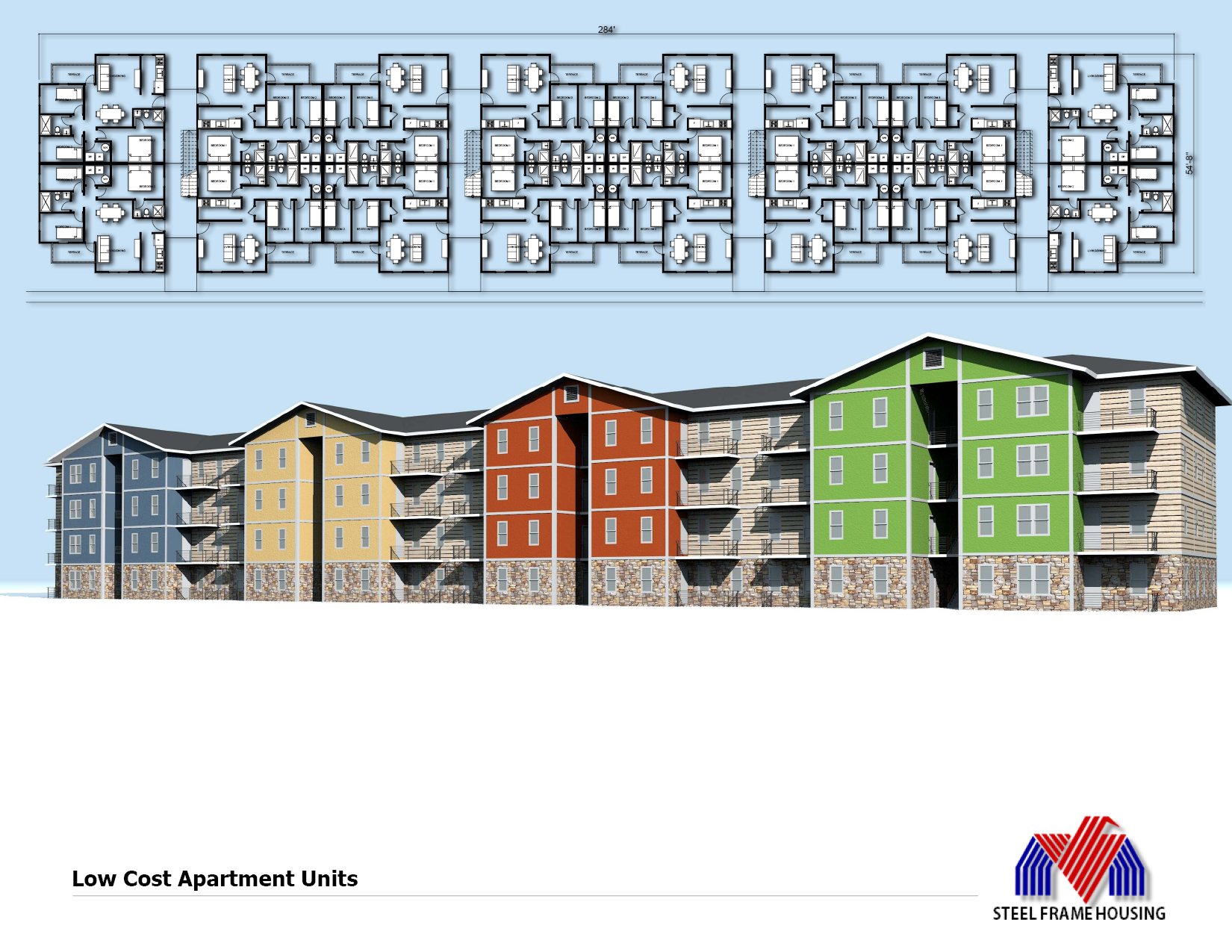 Affordable housing mid rise low cost apartment building for How to build low cost house