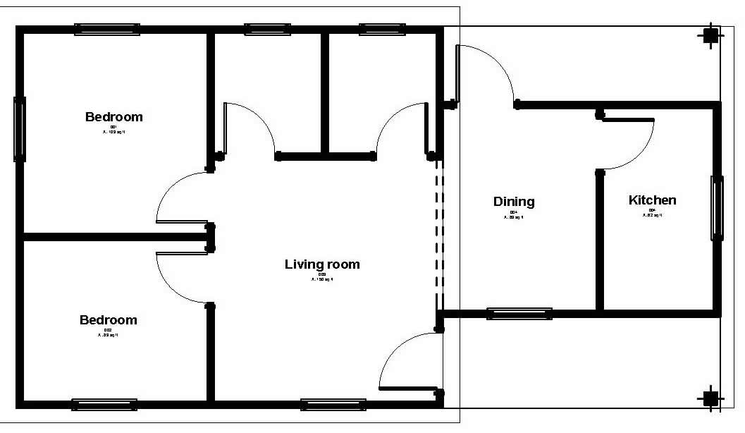 Affordable Housing - floor plan 740 sq ft house