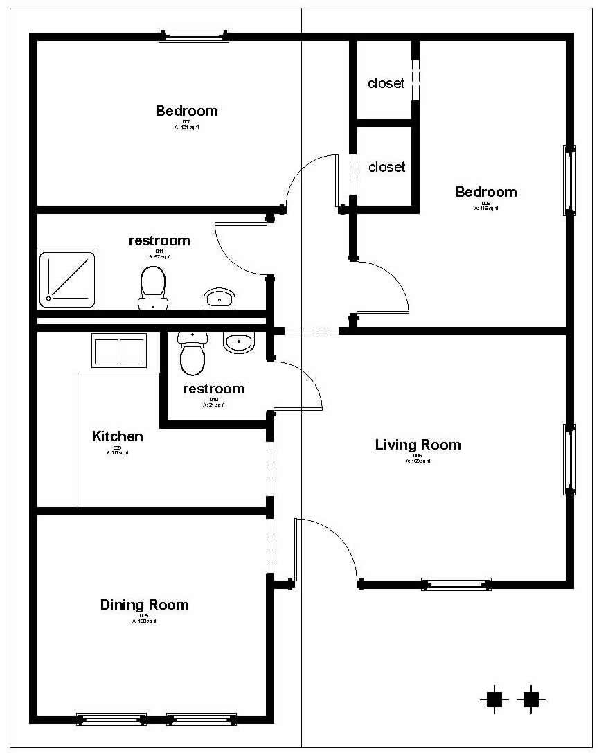 Floor plans low cost houses home design and style for Housing blueprints floor plans