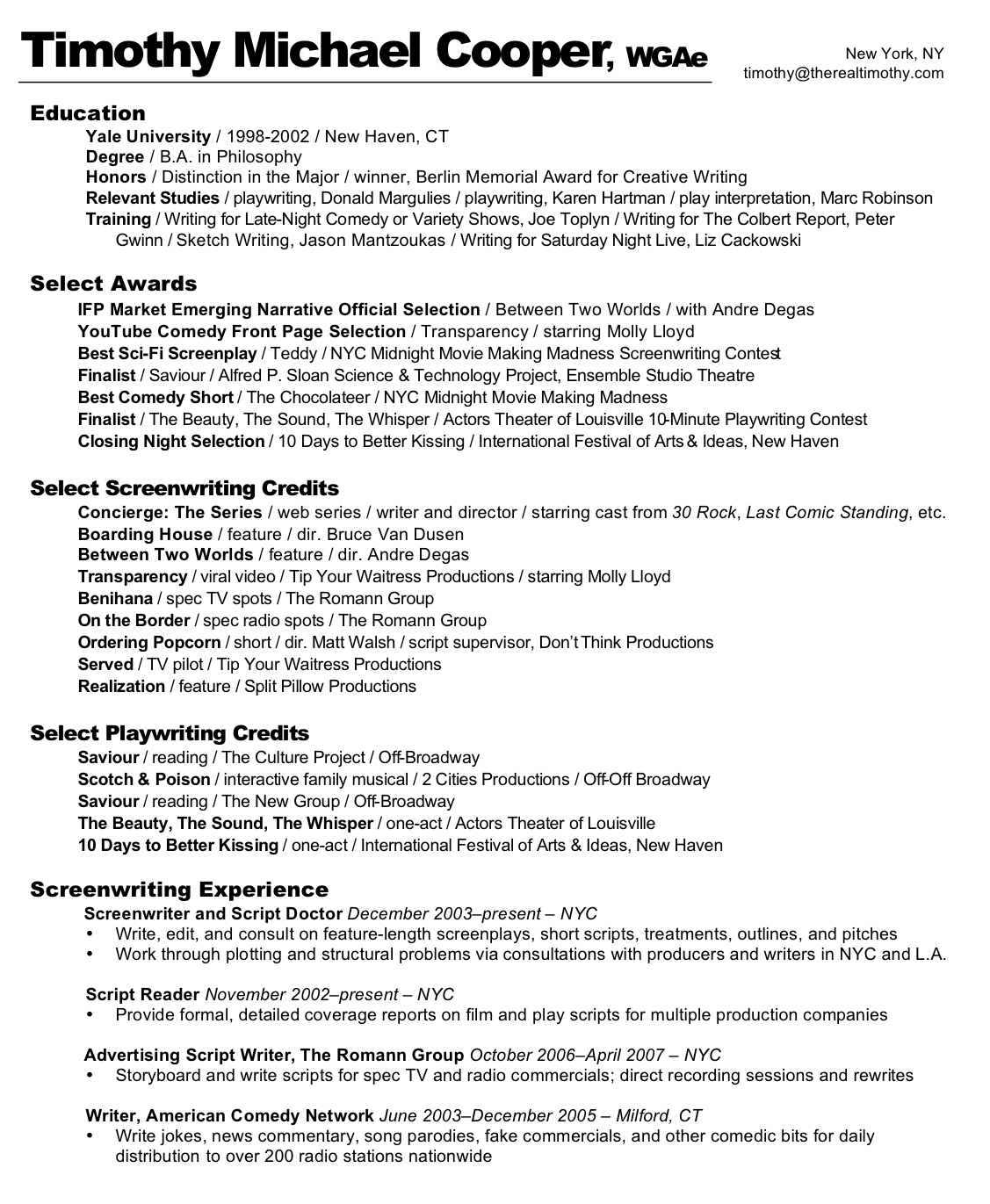 screenwriter resume